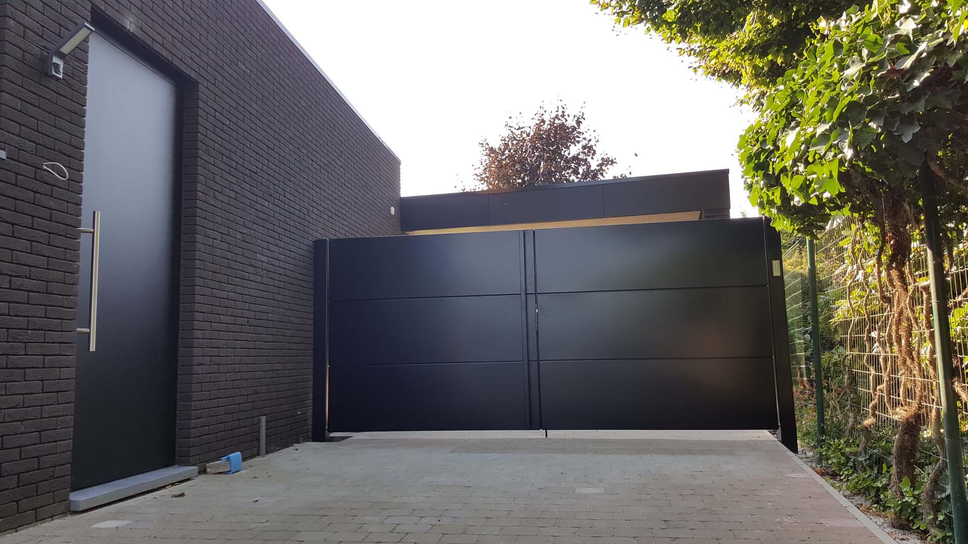 Moderne vleugelpoort designbaar aluminium horizontale cassetten - Rijkhoven